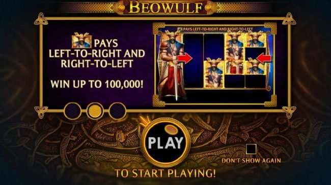 Beowulf pays left-to-right and right-to-left. Win up to 100,000!