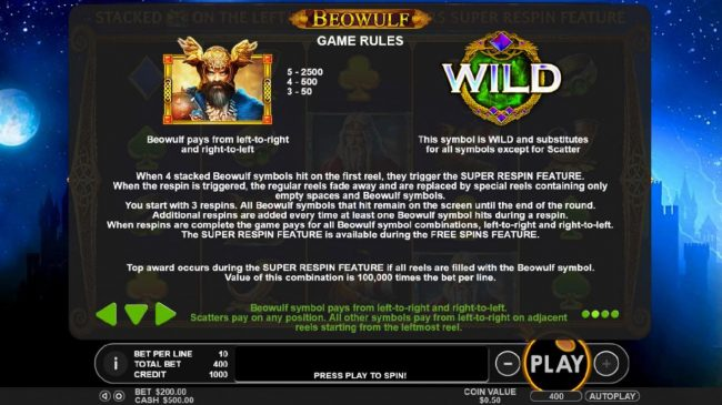 Crystal Casino Club featuring the Video Slots Beowulf with a maximum payout of $500,000