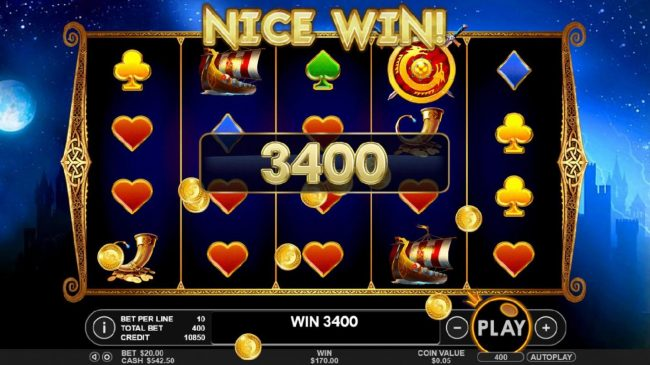 A 3400 coin big win triggered by multiple winning paylines
