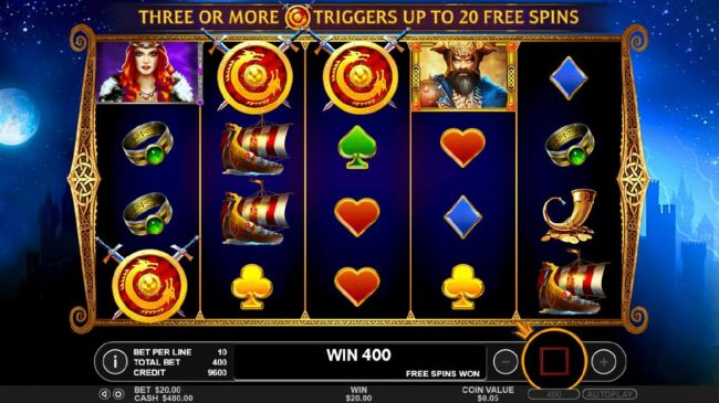 Three scatter symbols triggers the Free Spins feature.