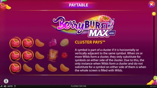 Rizk featuring the Video Slots Berry Burst Max with a maximum payout of $20,000
