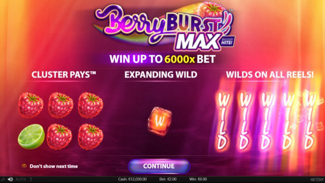 Play slots at Thrills: Thrills featuring the Video Slots Berry Burst Max with a maximum payout of $20,000