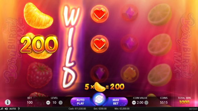 Rose Slots featuring the Video Slots Berry Burst Max with a maximum payout of $20,000