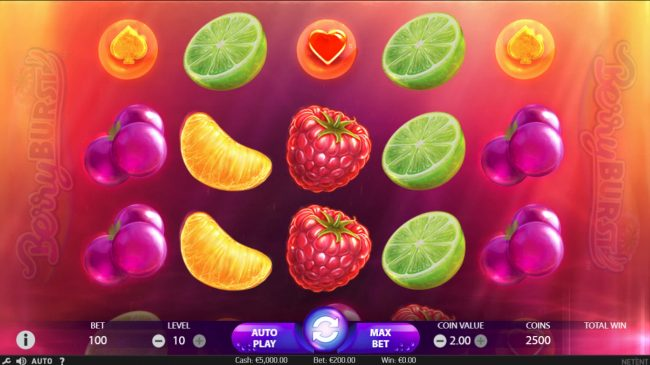 Neder featuring the Video Slots Berry Burst with a maximum payout of $10,000