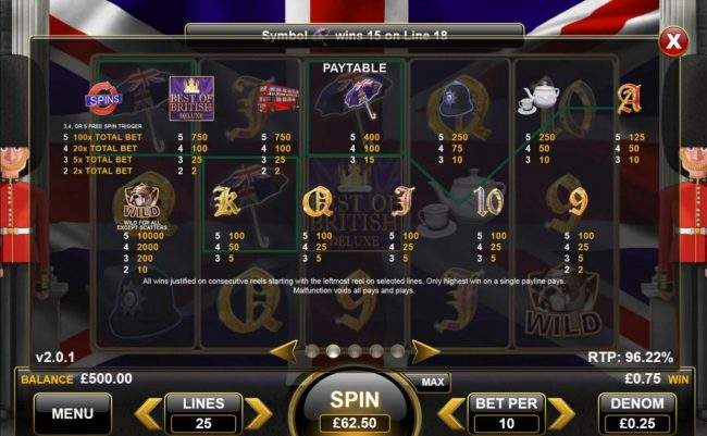 Mobireels featuring the Video Slots Best of British Deluxe with a maximum payout of $25,000
