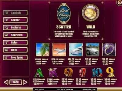 emu Casino featuring the Video Slots Best Things in Life with a maximum payout of $5,000