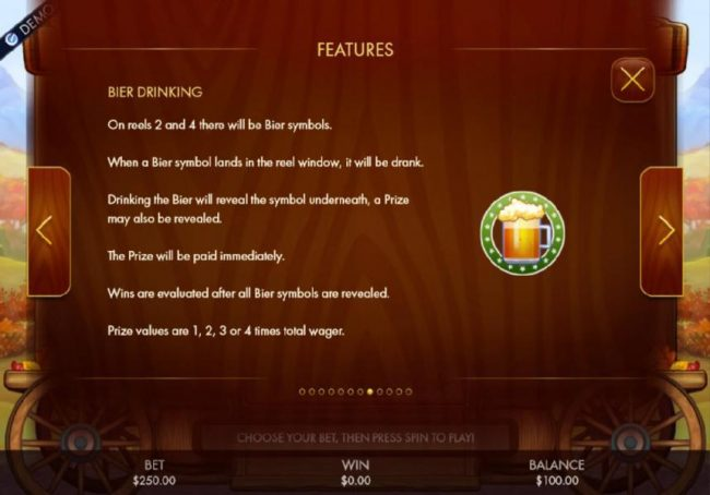 Intercasino featuring the Video Slots Bier Fest with a maximum payout of $250,000
