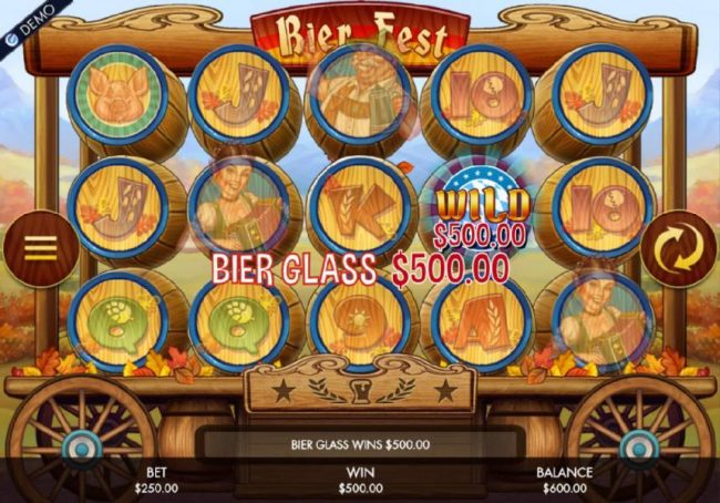 Jackpot Paradise featuring the Video Slots Bier Fest with a maximum payout of $250,000