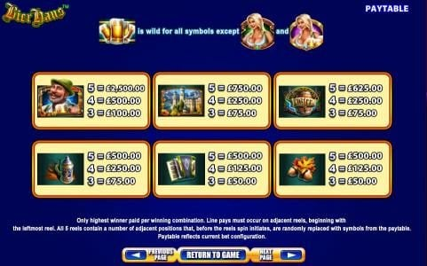 Slot game symbols paytable. Only highest winner paid per winning combination. Line pays must occur on adjacent reels, beginning with the leftmost reel. All 5 reels contain a number of adjacent positions that, before the reels spin initiates, are randomly