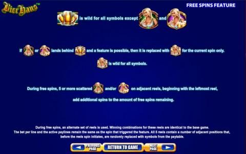 Bier Haus :: Free Spins Feature rules continued.