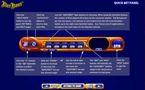 Quick Bet Panel description