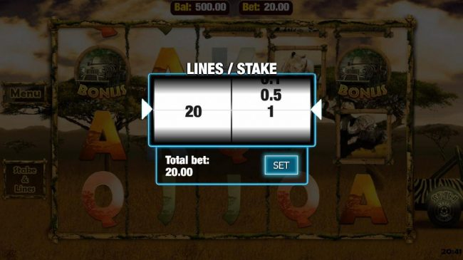 Click the Stake and Lines button to adjust the coin value and number of lines played