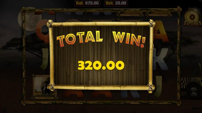 Total free spins payout 320.00