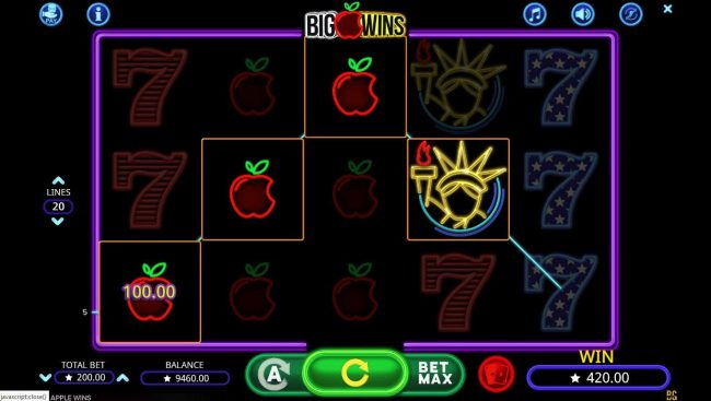 Argo featuring the Video Slots Big Apple Wins with a maximum payout of $400,000