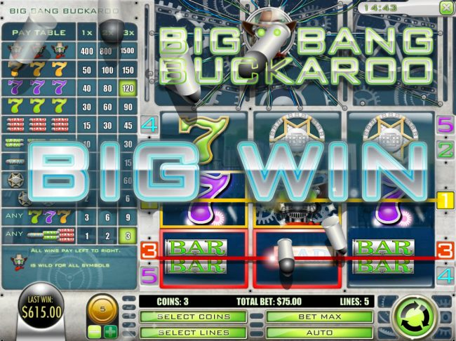 DaVincis Gold featuring the Video Slots Big Bang Buckaroo with a maximum payout of $7,500