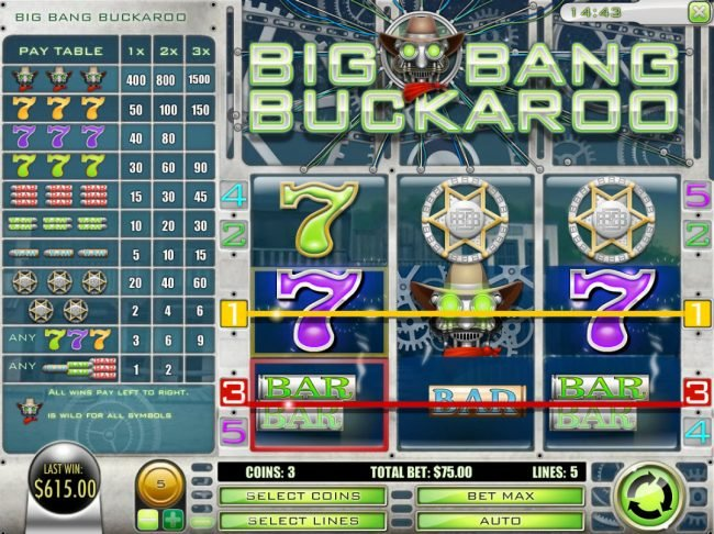 Vegas Fortune featuring the Video Slots Big Bang Buckaroo with a maximum payout of $7,500