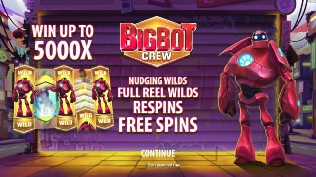Play slots at Casino BTC: Casino BTC featuring the Video Slots Big Bot Crew with a maximum payout of $500,000