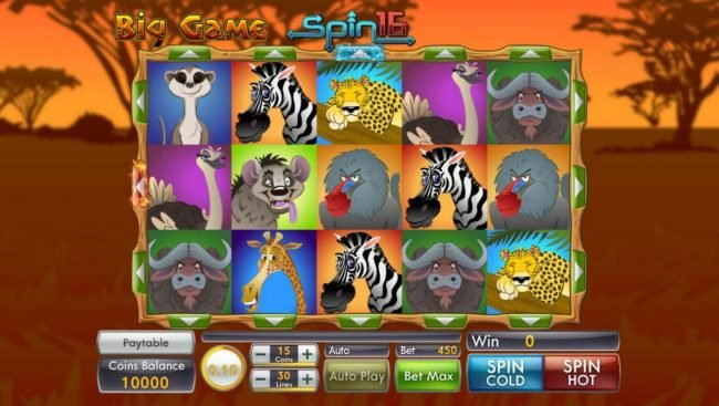 India Slots featuring the Video Slots Big Game Spin 16 with a maximum payout of $4,500