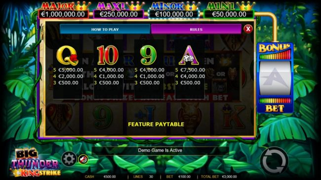 Zet Casino featuring the Video Slots Big Thunder King Strike with a maximum payout of $600,000