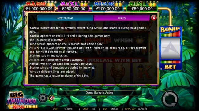 Play slots at King Billy: King Billy featuring the Video Slots Big Thunder King Strike with a maximum payout of $600,000