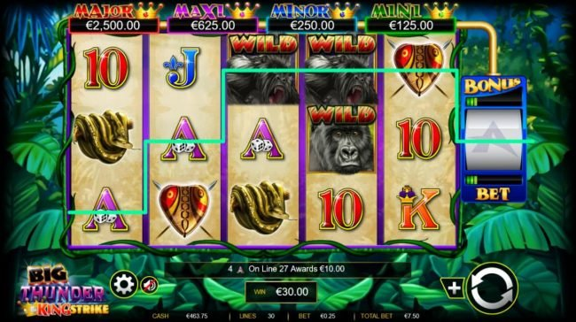 King Billy featuring the Video Slots Big Thunder King Strike with a maximum payout of $600,000