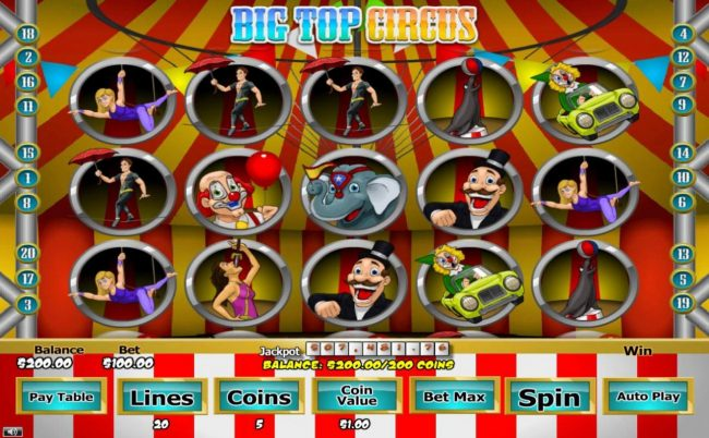 007 Slots featuring the Video Slots Big Top Circus with a maximum payout of $5,000