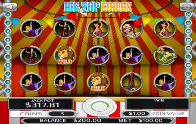 Play slots at Big Spin: Big Spin featuring the Video Slots Big Top Circus with a maximum payout of $500,000