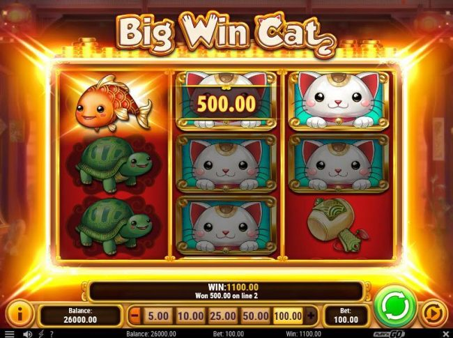 An 1100 coin big win payout