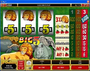 Quatro featuring the Video Slots Big 5 with a maximum payout of $7,200