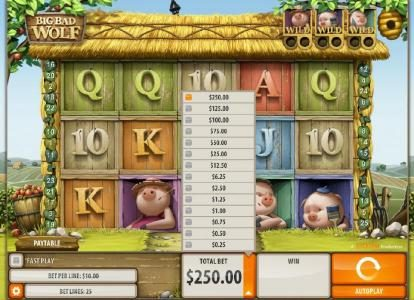 Big Bad Wolf :: The available bet range for this slot game is 0.01 to 10.00 per line played.