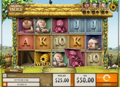 Big Bad Wolf :: With each winning combination the Swooping Reel feature is activated. Win line symbols are removed and replacement symbols drop from above, giving the player another chance to win more.