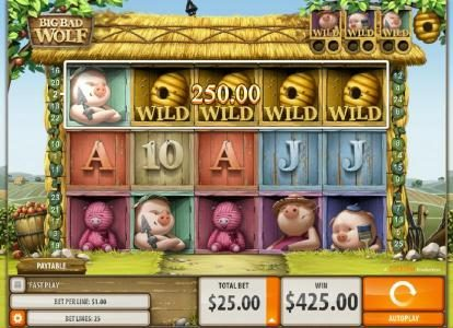 Big Bad Wolf :: Five of a Kind combines with other winning paylines to trigger a big win!