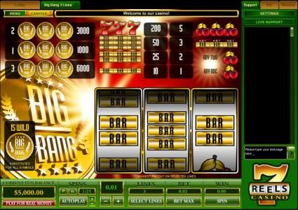 Play slots at Winward: Winward featuring the Video Slots Big Bang with a maximum payout of $30,000