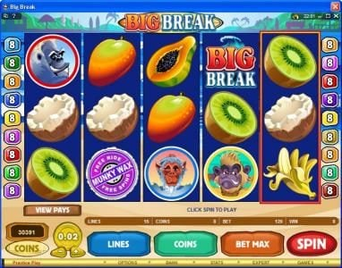 VipSpel featuring the Video Slots Big Break with a maximum payout of $100,000