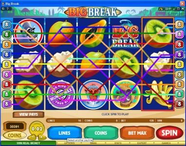 Play slots at Ruby Fortune: Ruby Fortune featuring the Video Slots Big Break with a maximum payout of $100,000