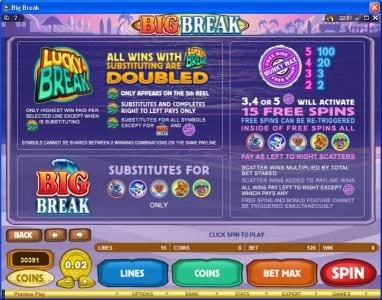Casino Mate featuring the Video Slots Big Break with a maximum payout of $100,000