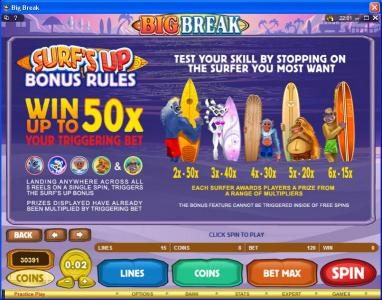 Lucky 247 featuring the Video Slots Big Break with a maximum payout of $100,000