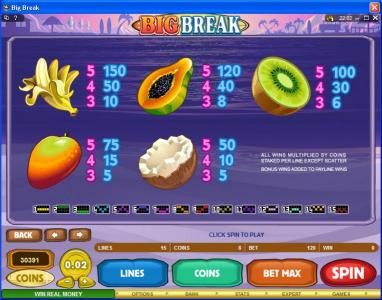 Winner Million featuring the Video Slots Big Break with a maximum payout of $100,000