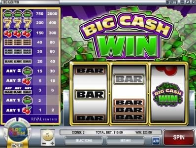 888 Tiger featuring the Video Slots Big Cash Win with a maximum payout of $100,000