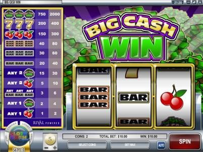 Black Diamond featuring the Video Slots Big Cash Win with a maximum payout of $100,000