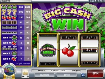 Crazy Luck featuring the Video Slots Big Cash Win with a maximum payout of $100,000