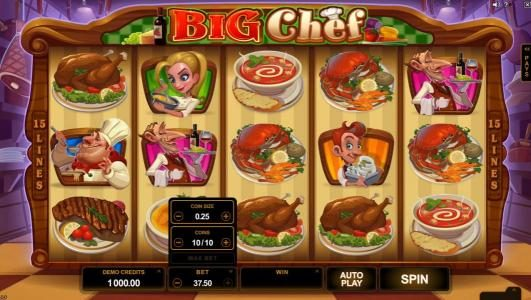 Spin Palace featuring the Video Slots Big Chef with a maximum payout of $375,000