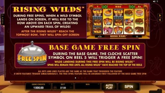 Rising Wilds game rules and Base Game Free Spin feature tules