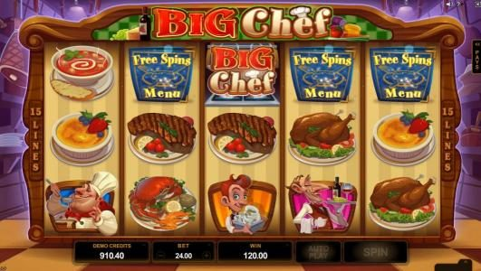 Vegas Spins featuring the Video Slots Big Chef with a maximum payout of $375,000