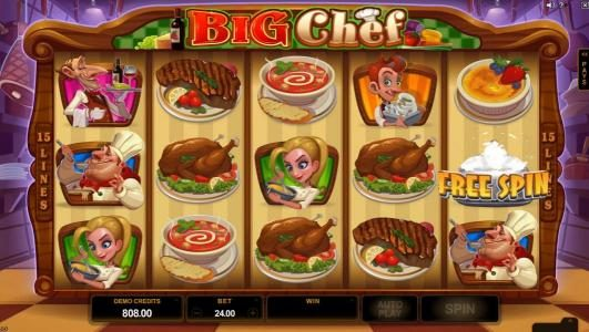 Big Chef :: Free Spin symbol triggers one free spin.