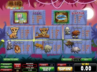 Casinoval featuring the Video Slots Big Five Baby 5 with a maximum payout of $1,500
