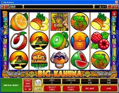 Vegas Seven featuring the Video Slots Big Kahuna with a maximum payout of $40,000