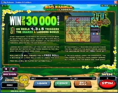 Grand Mondial featuring the Video Slots Big Kahuna Snakes & Ladders with a maximum payout of $50,000