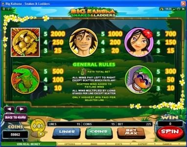 Virgin featuring the Video Slots Big Kahuna Snakes & Ladders with a maximum payout of $50,000