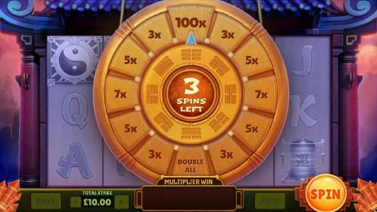 three spins to increase your line bet by multipliers